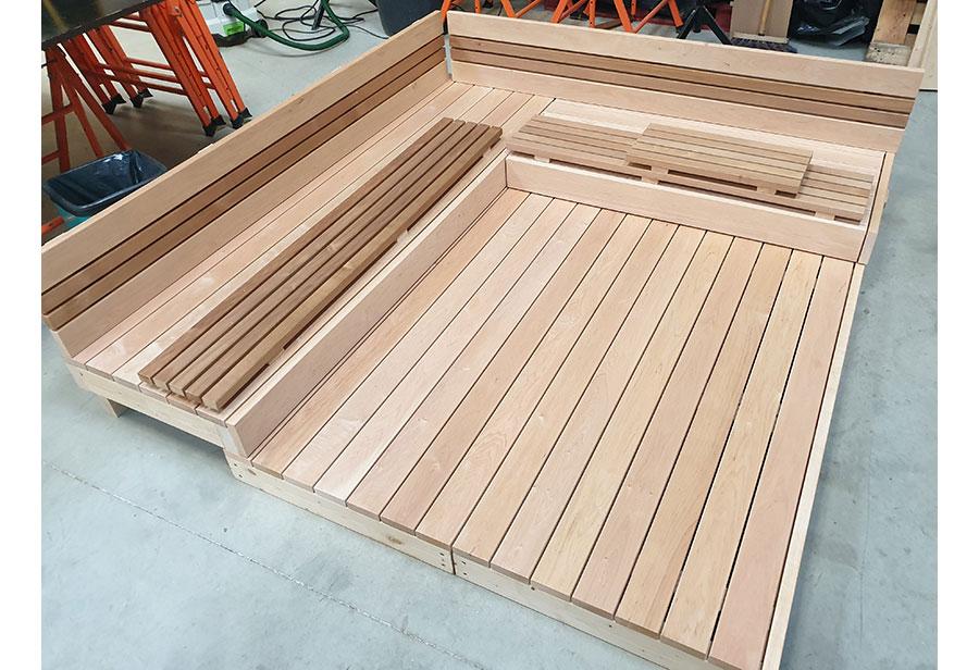 banquette sauna sur mesure